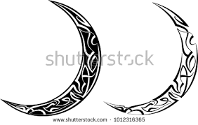 pinstripe crescent moon design vinyl ready stock vector 1012316365