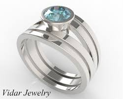 weddings rings set images 1 carat ice blue aquamarine triple wedding ring set vidar jpg