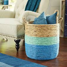 blue and mint color dipped rattan storage basket could diy this