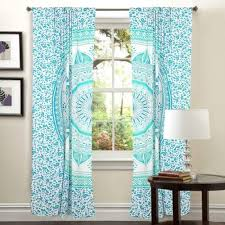 Teal And White Curtains Green Mandala 2 Panels Door Curtains Bohemian Window Drapes Curtains