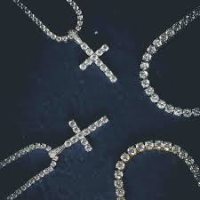 white necklace diamond images White gold diamond cross 3mm round cut tennis necklace set the jpg