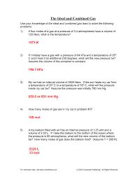 ideal gas law worksheet pv u003d nrt