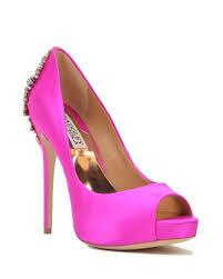 Plum High Heels Kiara Embellished Peep Toe Pump Evening Shoe By Badgley Mischka