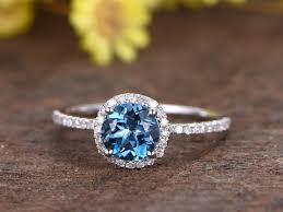 london blue topaz engagement ring 1 2 carat london blue topaz engagement ring with diamond 14k white