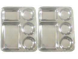 tray plates qualways rectangular tray divided stainless steel tray set of 2