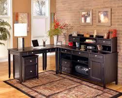 fantastic design ideas using l shaped black wooden desks include