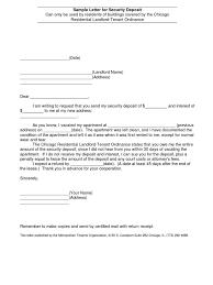 bond receipt template sample letter for security deposit
