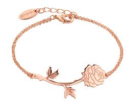 rose gold plated beauty u0026 the beast rose bracelet from disney couture