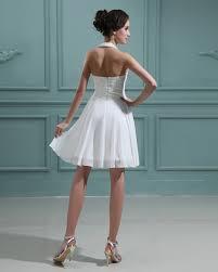 short beach chiffon halter beaded wedding dress sang maestro