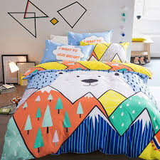 Funny Duvet Sets Orange Blue Turquoise Yellow And White Funny Bear And Mountain
