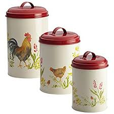amazon com country kitchen rooster canisters set of three 3