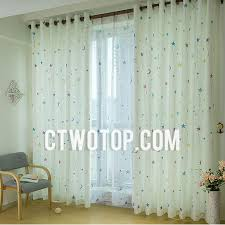Green Kids Curtains White And Blue Star Cute Fun Dreamy Cheap Nursery Kids Curtains