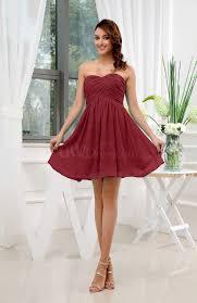 dark red informal sleeveless zip up short ruching party dresses