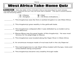 West Africa Map Quiz by West Africa Take Home Quiz 6th 8th Grade Worksheet Lesson Planet