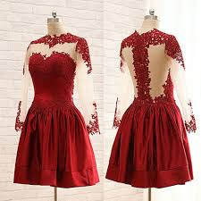 little cute burgundy short prom dresses a line lace long sleeve