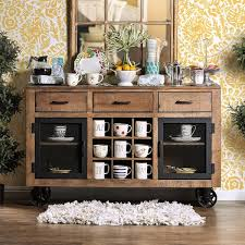 furniture of america matthias industrial rustic pine dining buffet