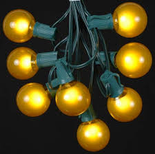 yellow gold satin g50 globe outdoor string light set on