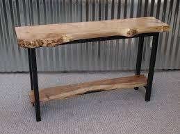 LIVE EDGE MAPLE SOFA TABLE WITH STEEL BASE Decor Pinterest - Custom furniture portland