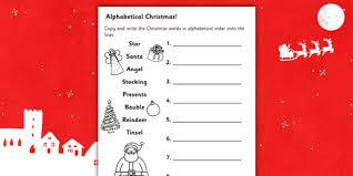 christmas words in alphabetical order worksheet christmas