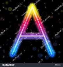 vector alphabet rainbow lights glitter sparkles stock vector