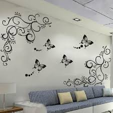 wholesale 3d calssic black butterfly flower wall sticker home