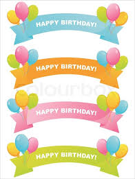 happy birthday ribbon set of 4 colorful birthday ribbons stock vector colourbox
