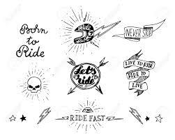 traditional tattoo biker set of design elements royalty free