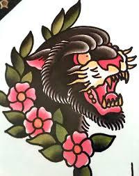 panther face tattoo design