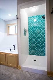 bathrooms design blue porcelain tile glass subway tile