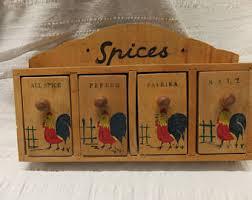 Vintage Wooden Spice Rack Rooster Spice Jars Etsy