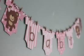 baby shower banners teddy baby shower banner pink and brown girl teddy