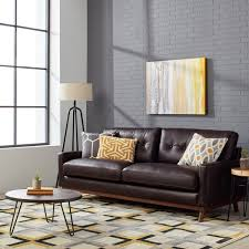 larson top grain leather espresso mid century sofa free shipping