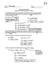 exponential growth and decay worksheet worksheets