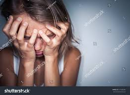 Harsh Lighting Young Woman Suffering Severe Depression Anxietysudden Stock Photo