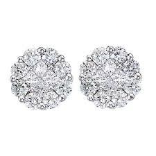 flower stud earrings diamond clusters flower stud earrings 14k white gold 1 00ct allurez
