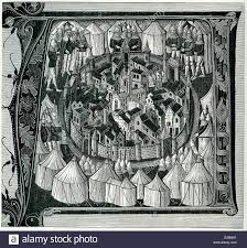 vintage siege vintage engraving from from a 15th century original of a