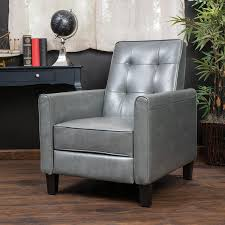 Grey Leather Recliner Home Elan Tufted Bonded Leather Recliner