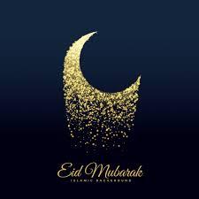 sparkling moon design for eid mubarak vector free