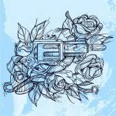 gun and roses u2014 stock vector samoilik 28874483