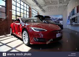 tesla dealership tesla model s in a showroom red hook brooklyn new york usa