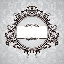 royal retro frame with vintage floral ornament with crown vector