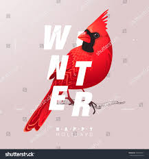 cardinal bird home decor christmas winter bird illustration modern typography stock vector