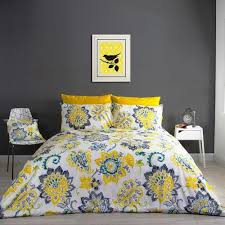 floral mustard duvet cover and pillowcase set