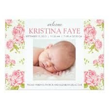 pink roses floral photo birth announcement invitation card