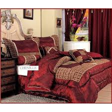 Amazon Queen Comforter Amazon Com 7 Pieces Burgundy Red And Gold Satin Chenille