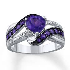 amethyst wedding rings amethyst heart ring diamond accents sterling silver