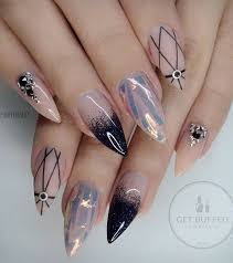50 rhinestone nail art ideas ring finger black pattern and