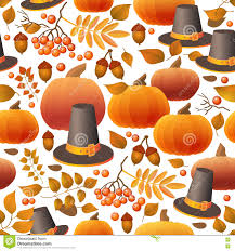 seamless thanksgiving day pattern with pumpkins hats and leaves