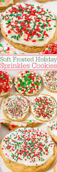 soft frosted holiday sprinkles cookies averie cooks