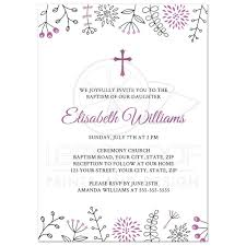 Hindu Baby Naming Ceremony Invitation Cards Purple Flower Invitation Baptism Invitations Framed Cross Purple